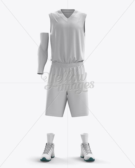 Full Basketball Kit w/ V-Neck Tank Top Mockup - Front View