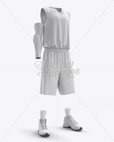Download Full Basketball Kit w/ V-Neck Tank Top Mockup - Half-Turned View Jersey Mockups