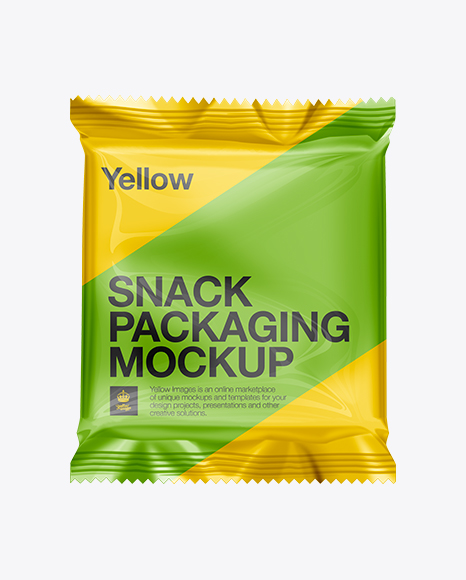Download Snack Food Packaging Mockup In Flow Pack Mockups On Yellow Images Object Mockups PSD Mockup Templates