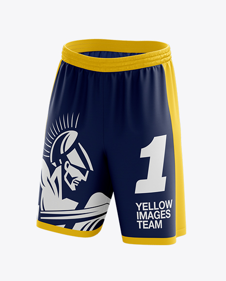 Download Basketball Shorts Mockup Front 3 4 View In Apparel Mockups On Yellow Images Object Mockups