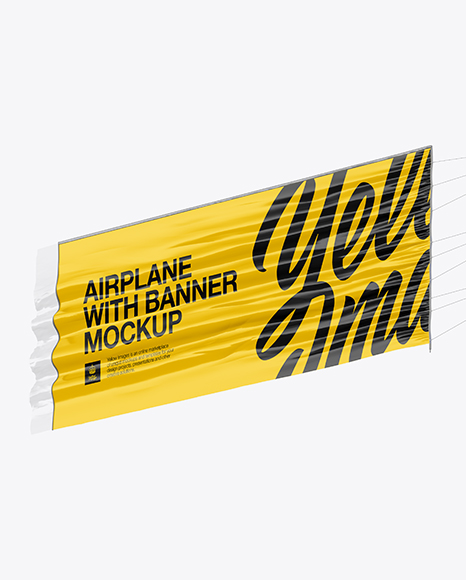 Airplane With Long Banner Mockup - Half Side View (Hero Shot)