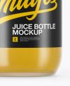750ml Clear Glass Orange Juice Bottle Mockup