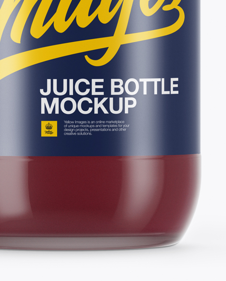 750ml Clear Glass Berry Juice Bottle Mockup
