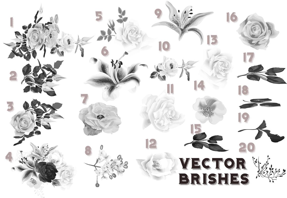 Set of flowers brushes