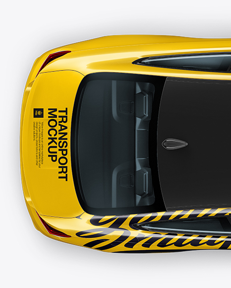 Bmw M4 Mockup Top View In Vehicle Mockups On Yellow Images