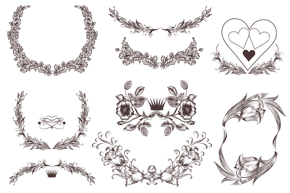 Vector wreath and frames