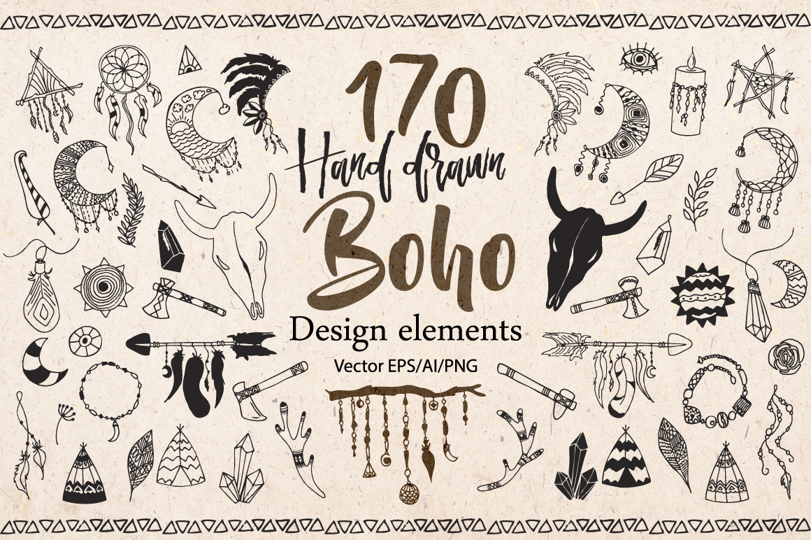 Hand drawn Boho doodles