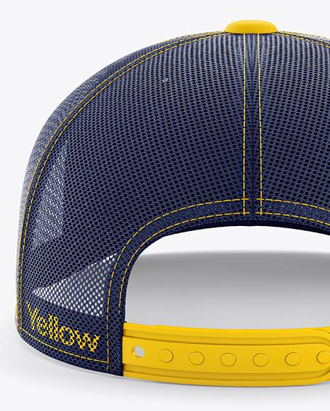 Download Snapback Cap Mockup Back Half Side View High Angle Shot Yellowimages