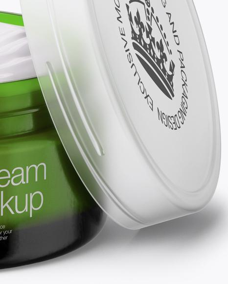 Opened Green Cream Jar With Transparent Cap Mockup (High-Angle Shot)