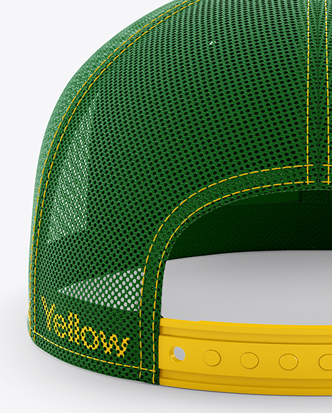Trucker Cap with Flat Visor Mockup - Back View