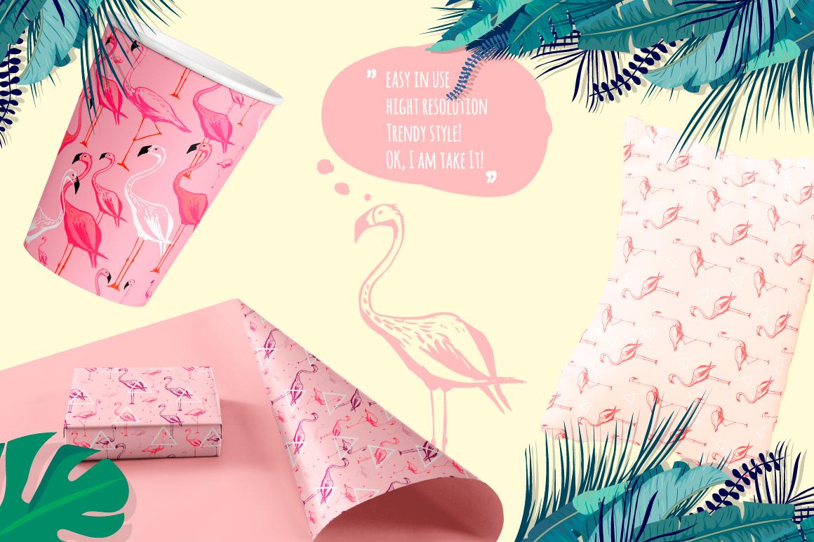 Flamingo seamless vector patterns