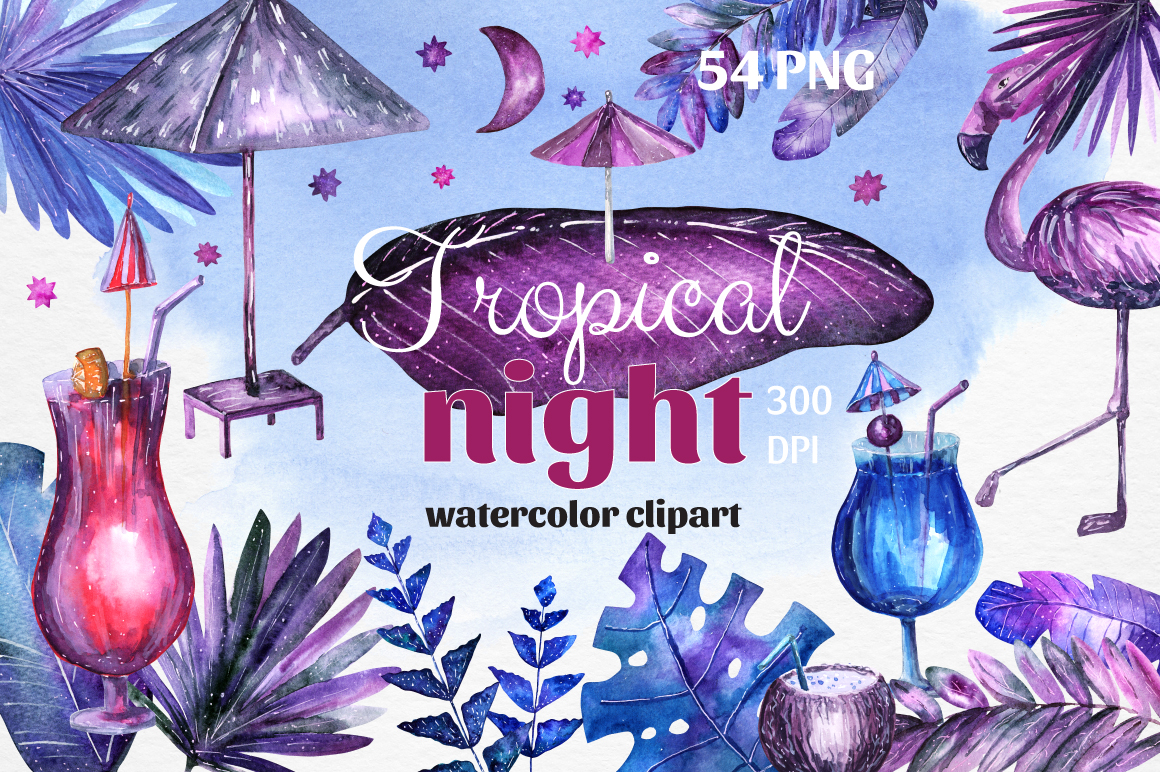 Tropical night - Watercolor set
