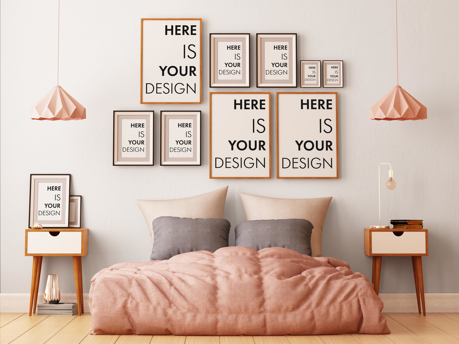 8 group mock-ups of posters in the bedroom