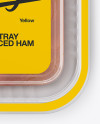 Plastic Tray with Sliced Ham Mockup - Top View