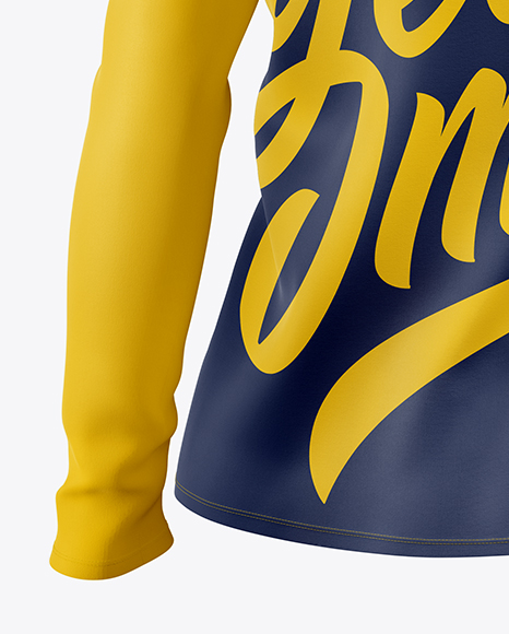 Women's Baseball T-shirt with Long Sleeves Mockup - Back Half Side View