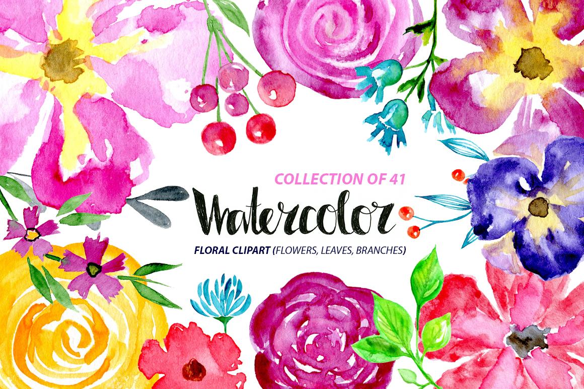 41 Watercolor floral elements