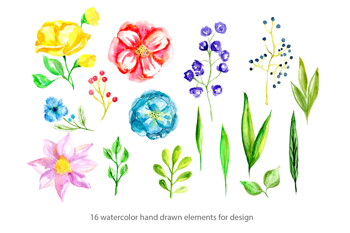 Watercolor spring bright flowers