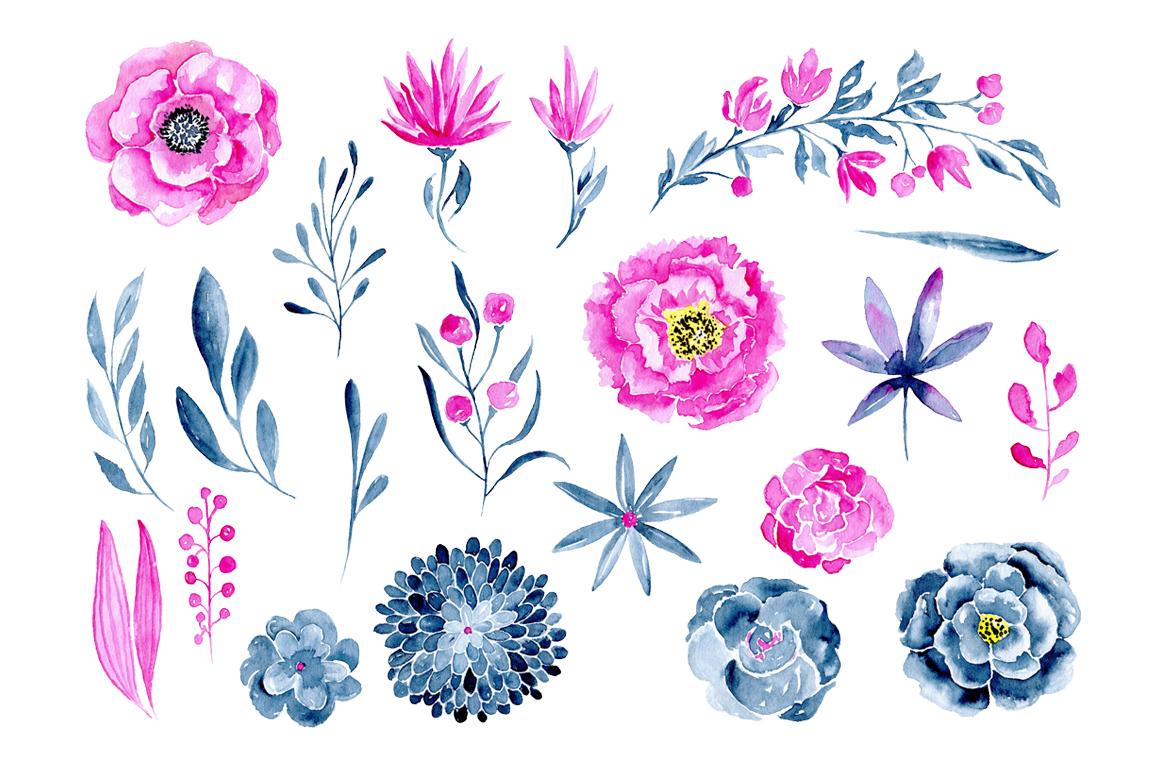 21 Watercolor floral elements