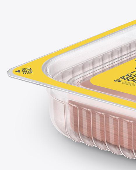 Plastic Tray with Sliced Ham Mockup - Half Side View