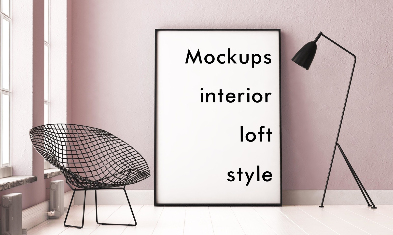 4 Mockups Interior Loft Style In Outdoor Advertising Mockups On