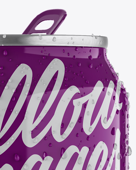 330ml Aluminium Can W/ Condensation & Glossy Finish Mockup - Front View