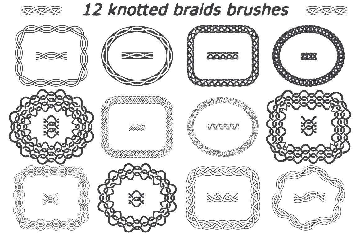 12 vector knotted braids brushes