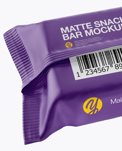 Matte Snack Bar Mockup - Back Half Side View (High-Angle Shot)