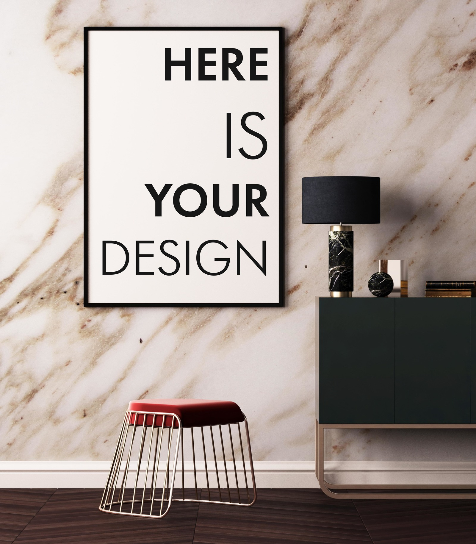 Mockup Posters On A Marble Wall In Indoor Advertising Mockups On