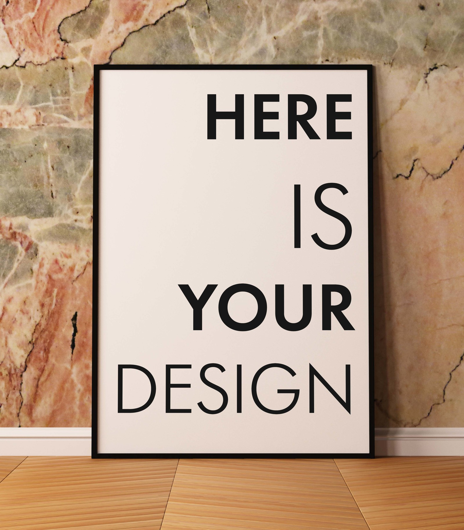 Mockup posters on a marble wall