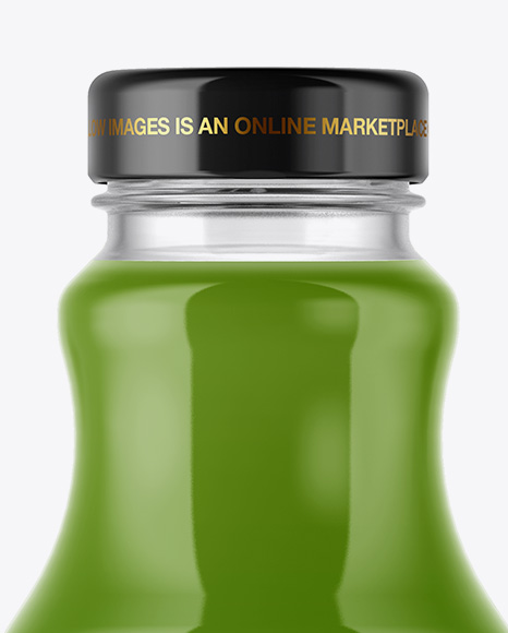 Clear Glass Bottle With Green Juice Mockup