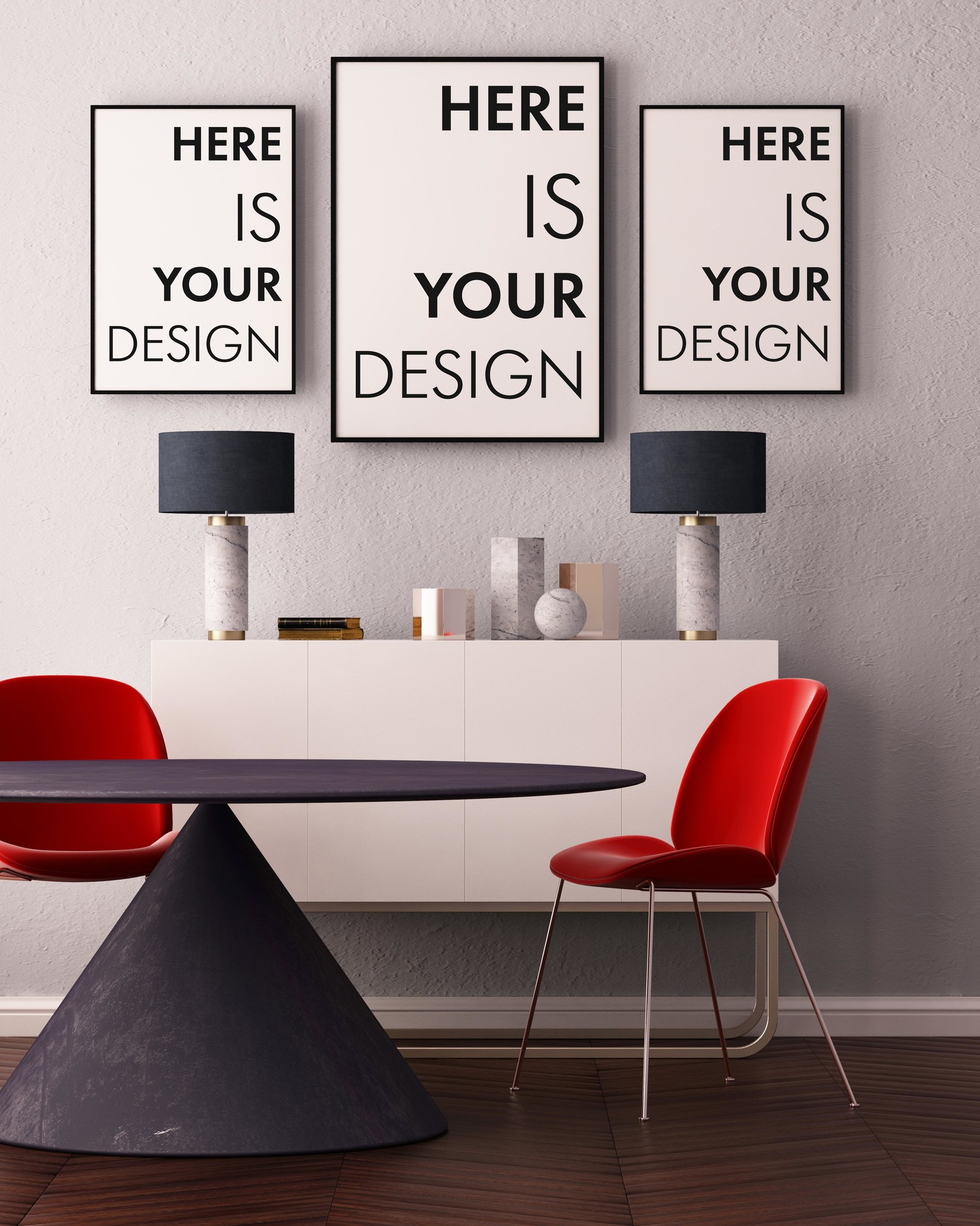 Mockup Poster With A Dining Table In Indoor Advertising Mockups On