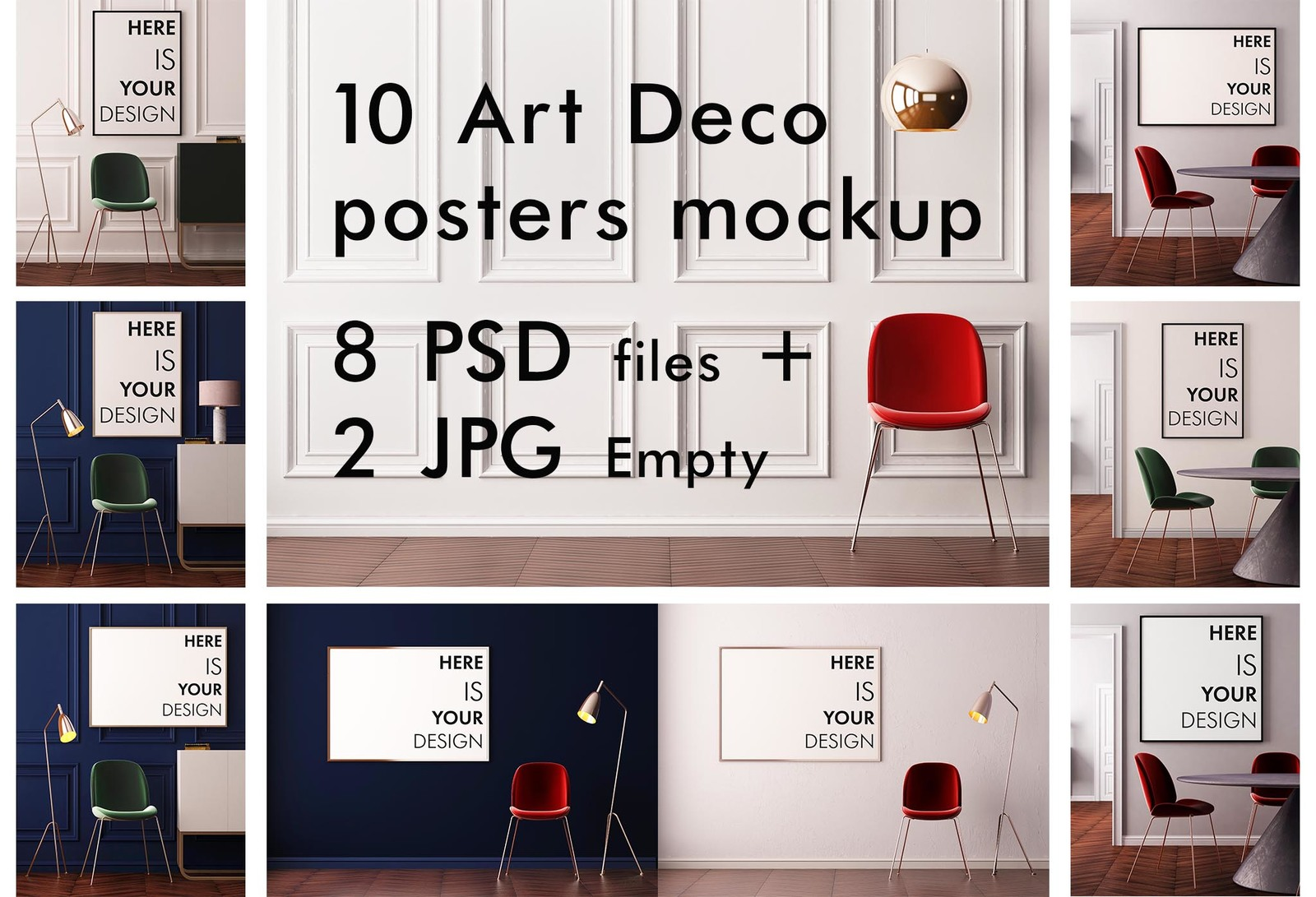 10 Art Deco posters mockup