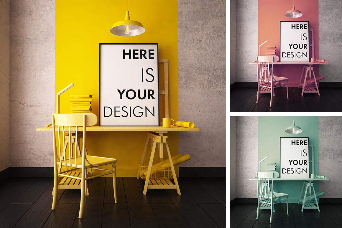 3 color interior with mockup poster