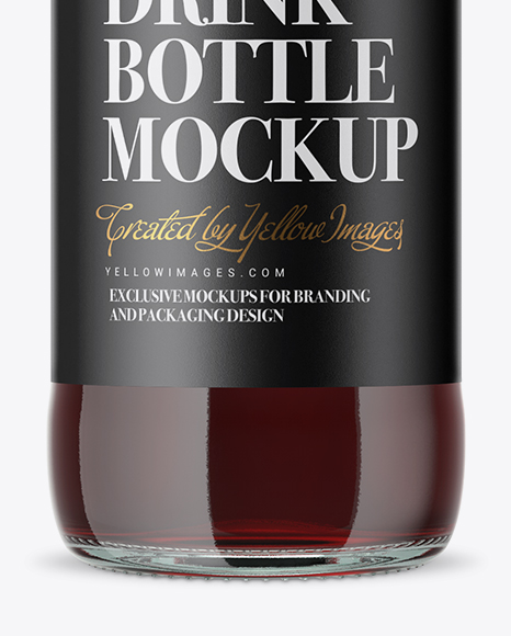 Clear Glass Beugel Red Drink Bottle Mockup
