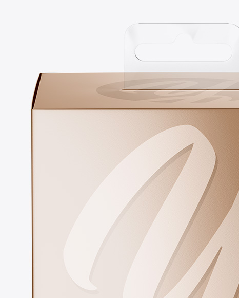 Metallic Paper Box with Hang Tab Mockup - Front View (high-angle shot)