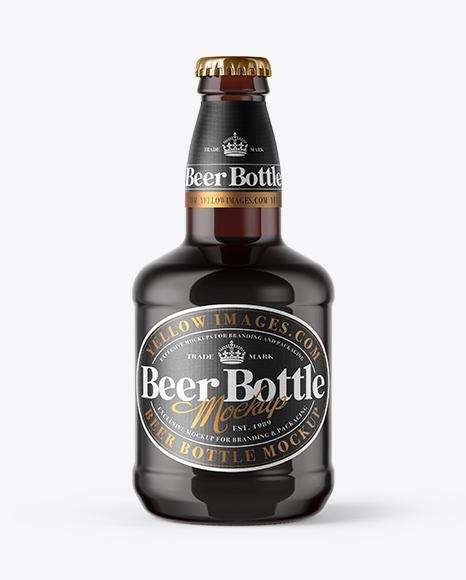 330ml Amber Glass Red Ale Bottle with Foil Mockup