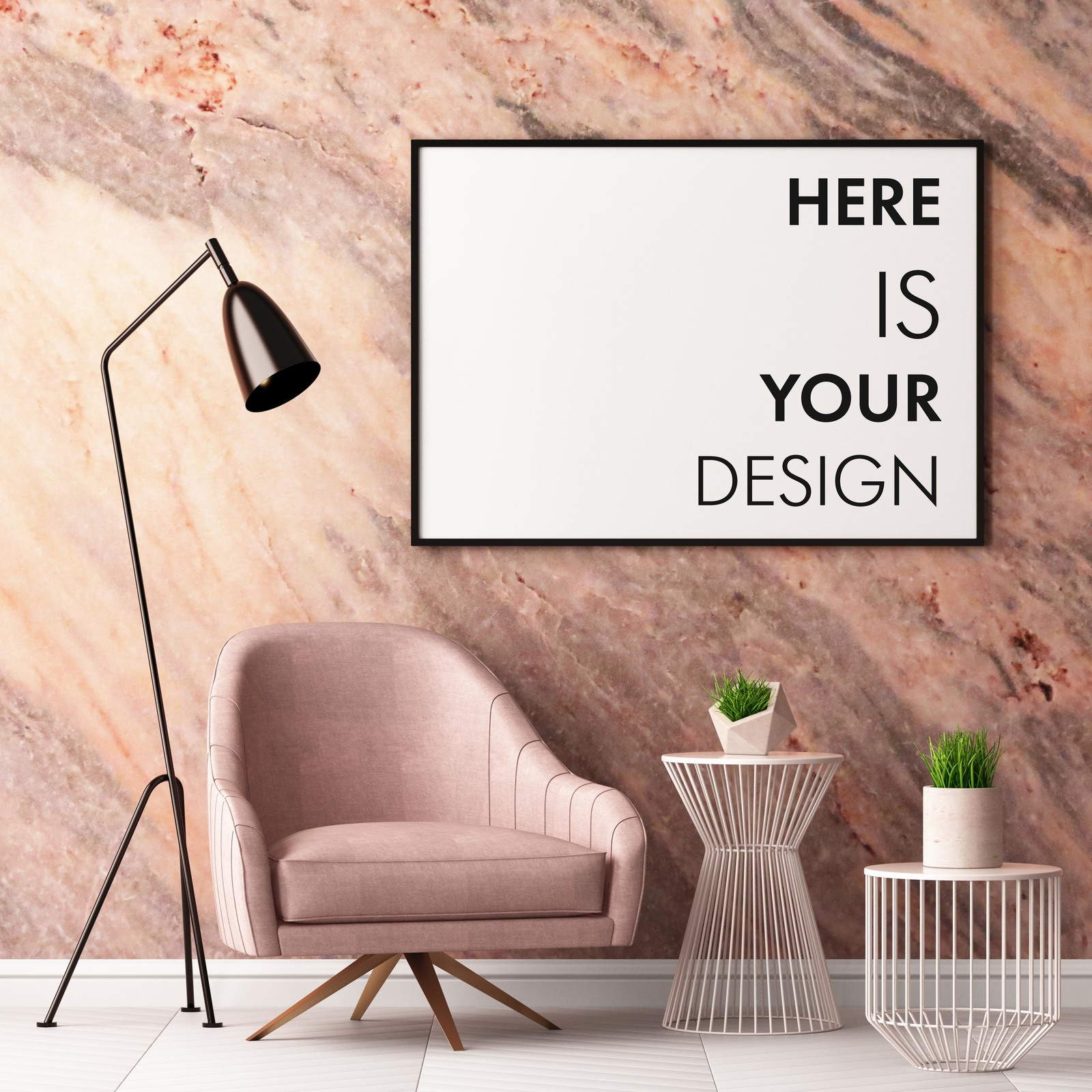 6 mockup posters in the interior