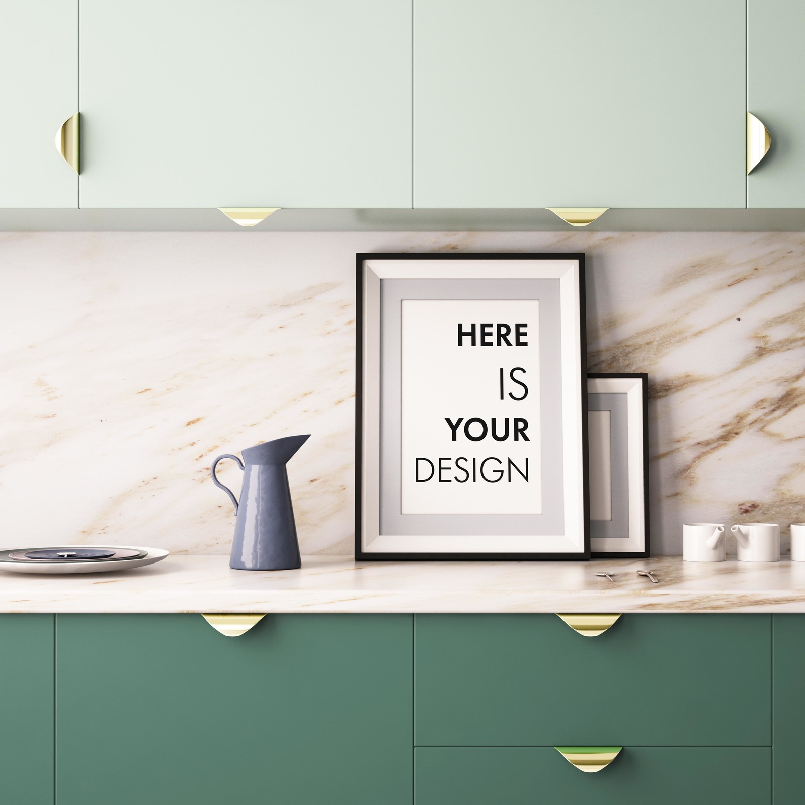 10 Mockups posters in the kitchen