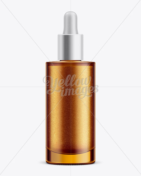 Glass Bottle w/ Shimmering Body Oil Mockup