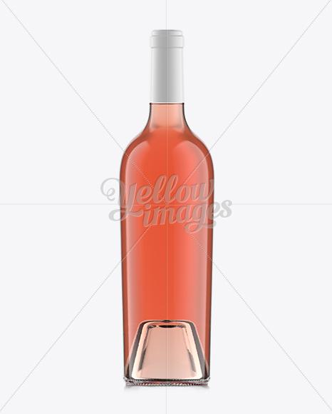 75cl Aleka Flint Glass Bottle W/ Rose Wine Mockup