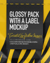 Glossy Package With a Label Mockup - Front View
