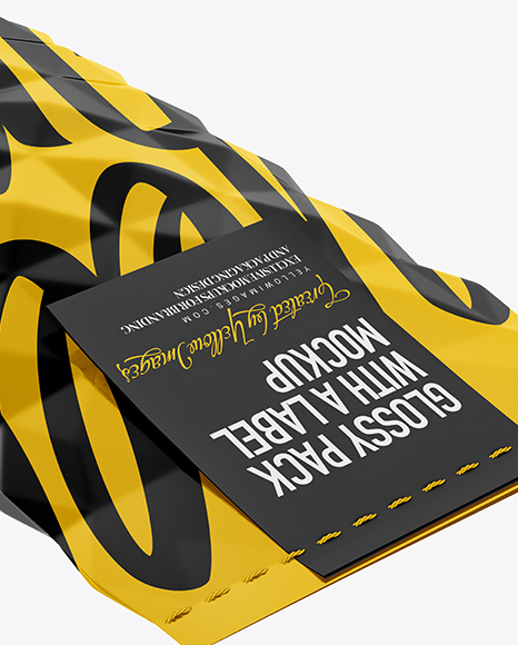 Glossy Package With a Label Mockup - Half Side View (High-Angle Shot)
