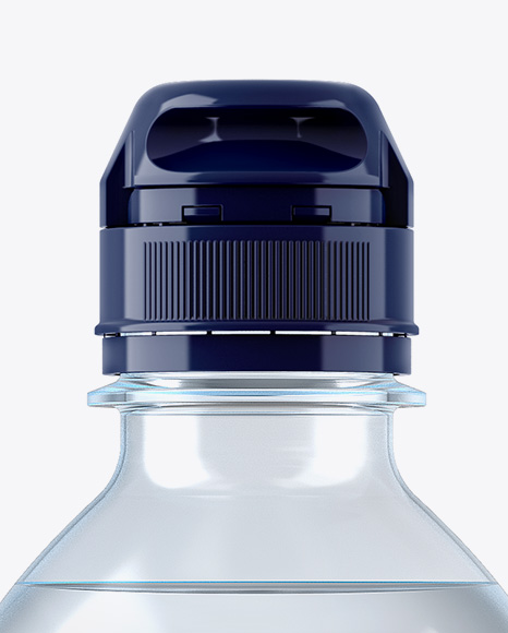 Blue PET Water Bottle W/ Sport Cap Mockup