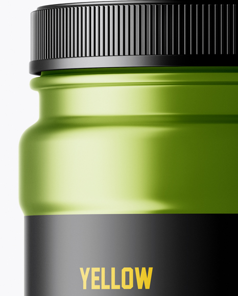 Matte Metallic Protein Jar With Paper Label Mockup
