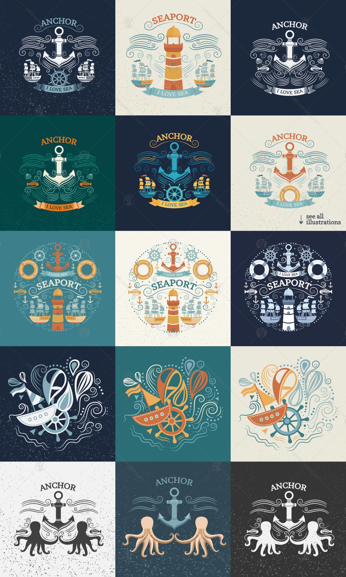 Vintage marine illustrations. Patterns, prints, design elements.