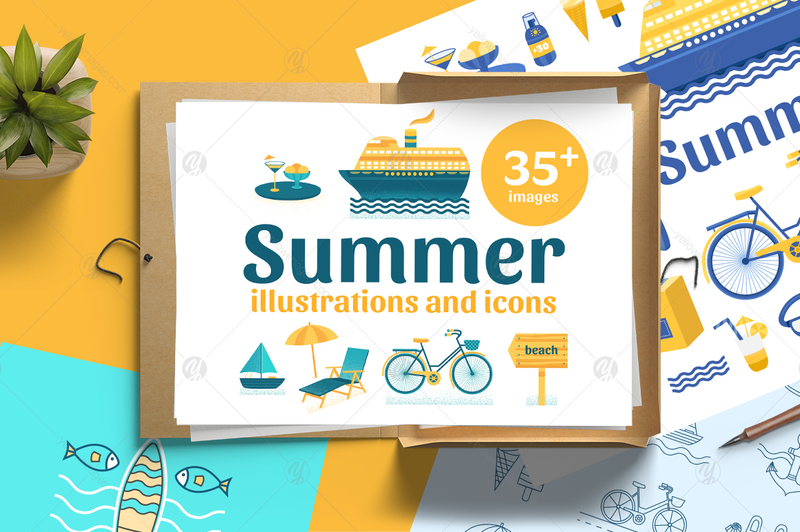 Summer illustrations and line icons