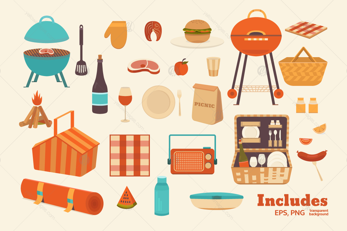 Illustrations picnic and BBQ