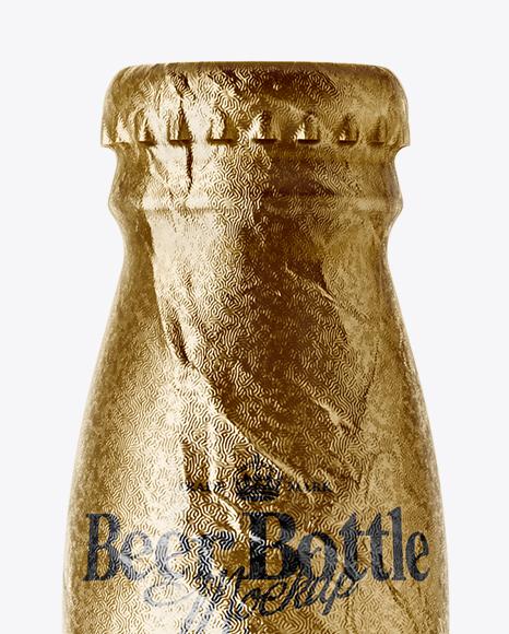 330ml Amber Glass Lager Beer Bottle with Foil Mockup