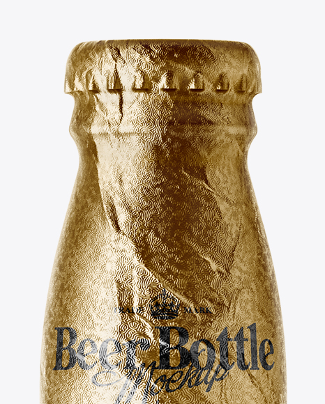 330ml Clear Glass Brown Ale Bottle with Foil Mockup
