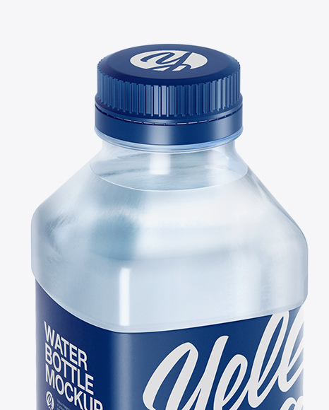 Blue PET Water Bottle Mockup - Half Side View (High-Angle Shot)